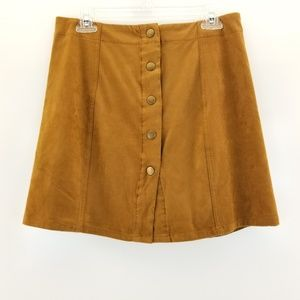 XHILARATION Faux Suede Buttoned Front Skirt